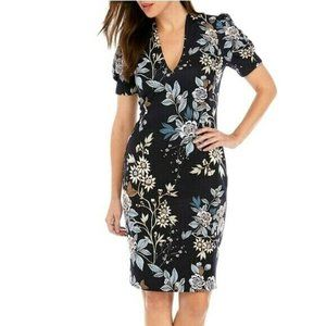 Vince Camuto Sheath Dress Floral Puff Sleeves
